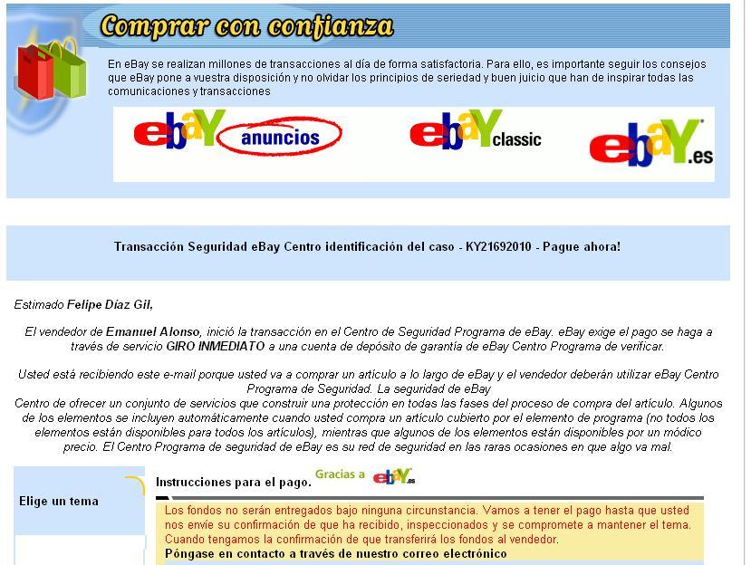 La estafa de eBay y el giro postal | Estafadores Rumanos