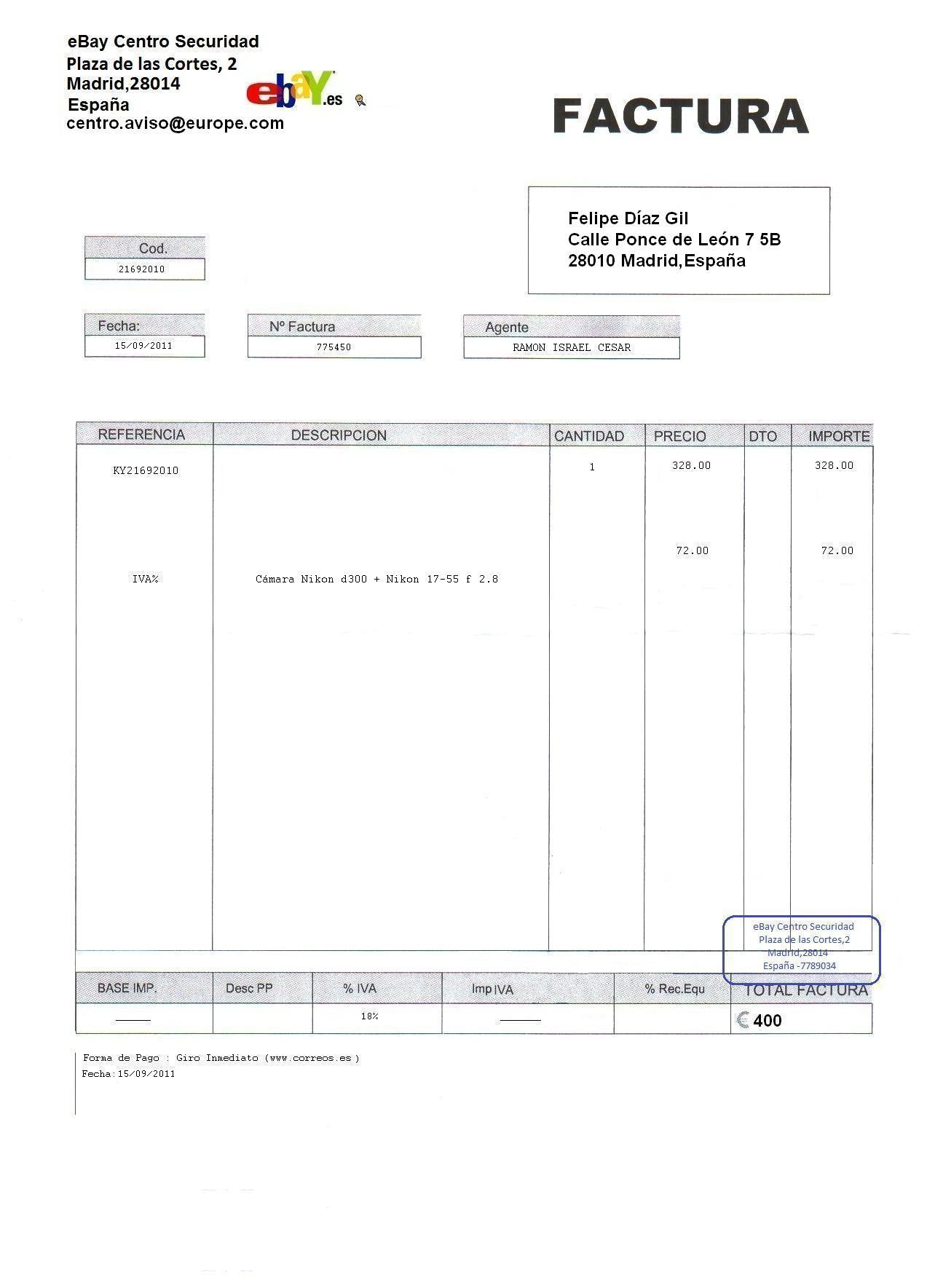 falsificar una factura: